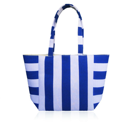 Women/'s Designer Style Striped Beach Bag Shopper Ladies Shoulder Bag