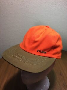 CC Filson Cloth Hat Insulated Sz S Blaze Orange Tan Cap Tuck Away ... d521a42ec17