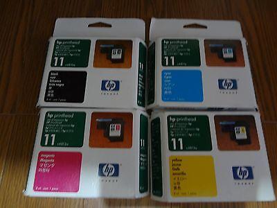 SET OF 4  NEW GENUINE HP 11 PRINTHEAD BLACK C / M / Y C4810A 11A 12A C13A