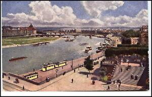DRESDEN-Sachsen-1924-Partie-a-d-Elbe-Strasse-Blick-auf-Schiff-Tram-Strassenbahn