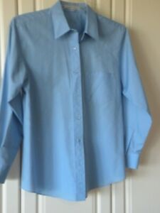 Blue-Women-s-Ladies-Foxcroft-Long-Sleeve-Wrinkle-Free-Blouse-Size-10