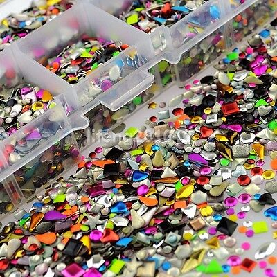 Mixed Color 3D Metal Nail Art Rhinestone Studs Nail Decoration Tools Accessories