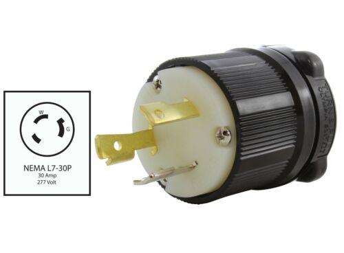 NEMA L7-30P 30 Amp 277 Volt Locking Male Plug Assembly in Black by AC WORKS®