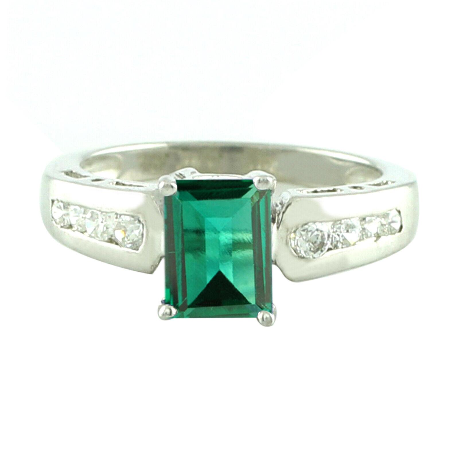 1.50 Carat 14KT White gold Natural Green Emerald EGL Certified Diamond Ring