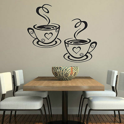 Coffee Cups Cafe Tea Wall Sticker Art Vinyl Decal Kitchen Home cafe Decor new