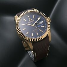 LUXURY WATCH ALESSANDRO BALDIERI  SWISS 45MM GOLD PLATED, BLUE DIAL .NEW