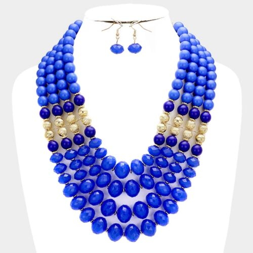 Four Layers Royal Blue Lucite Bead Gold Tone Bead Chunky Necklace Earring Set