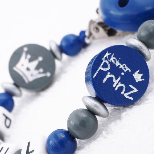 * el príncipe azul oscuro gris Baby regalo chico Cadena del chupete con nombre pequeño