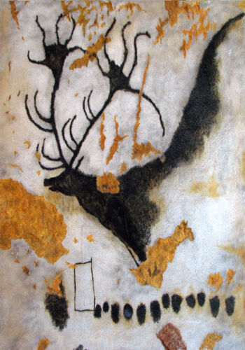 17,000 Yr Cave Painting Prehistoric Art Elk Stag Ancient Tribal Canvas Print