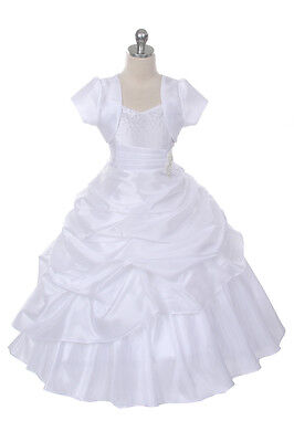 New Flower Girls Full Length White Dress First Communion Pageant + Free HB