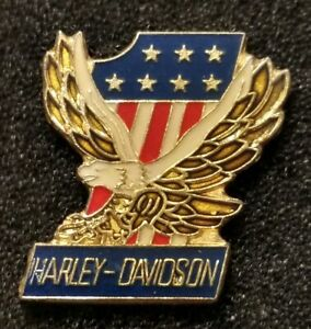 034-VINTAGE-034-HARLEY-DAVIDSON-AMF-1-UPWING-EAGLE-PIN-FROM-THE-1970-039-s-PRE-OWNED