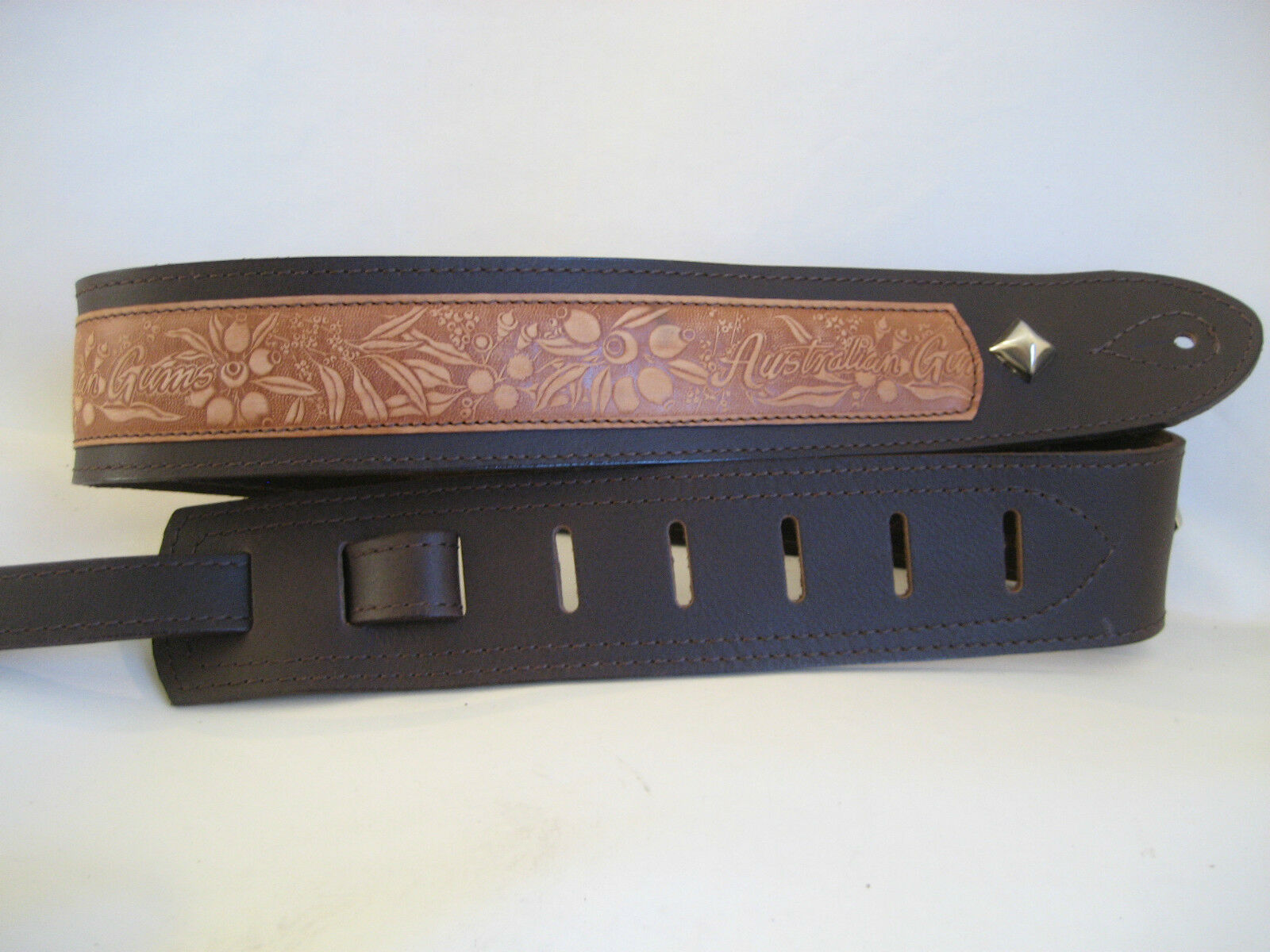 UNIQUE BROWN LEATHER AUSTRALIANA FLORA EMBOSS GUITAR/BASS STRAP