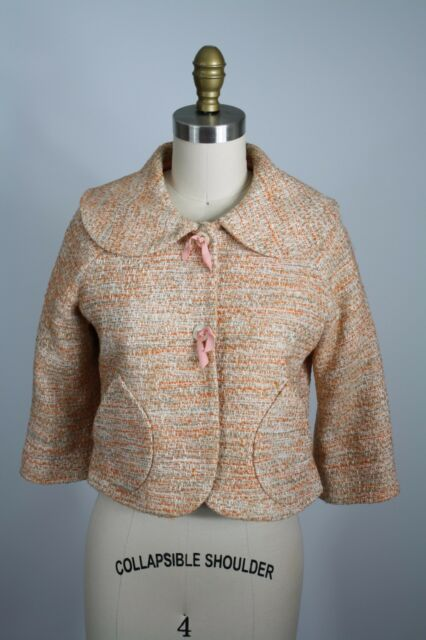 Anthropologie Elevenses Orange Tweed Cropped Short Cotton Blend Blazer Size 2