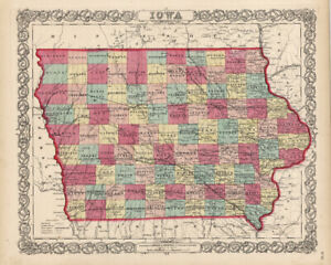 1860-Colton-039-s-034-IOWA-034-original-ex-atlas-hand-color