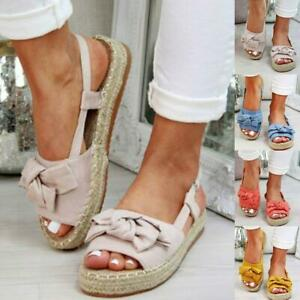 Women-039-s-Bow-Tie-Suede-Slippers-Summer-Flats-Heel-Sandals-Casual-Slides-Shoes-Sal