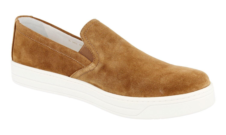 Autorización de lujo lujo de Prada Tenis Zapatos Gamuza Caramelo 3S5802 nuevo 40,5 41 Reino Unido 7.5 61b862
