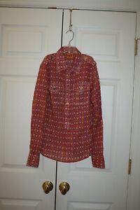 Women-Tory-Burch-Pink-Orange-White-Collared-Button-Down-Shirt-Top-Size-4