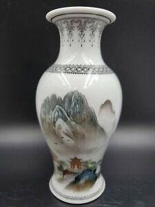 Vintage Chinese Porcelain Landscape Temple Poem Vase Jingdezhen 20th Century