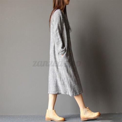ZANZEA Women Kaftan Caftan Vintage Solid Casual Loose Long Maxi Shirt Dress Plus