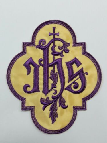 Christogram IHS Lota Eta Sigma Latin Cross Chasuble Applique Emblem 1 Pc.