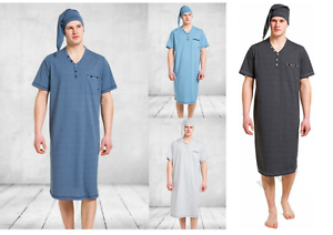 76e27d25cd Image is loading Mens-Night-Shirt-Cap-Set-Nightshirt-Nightwear-Sleepwear-