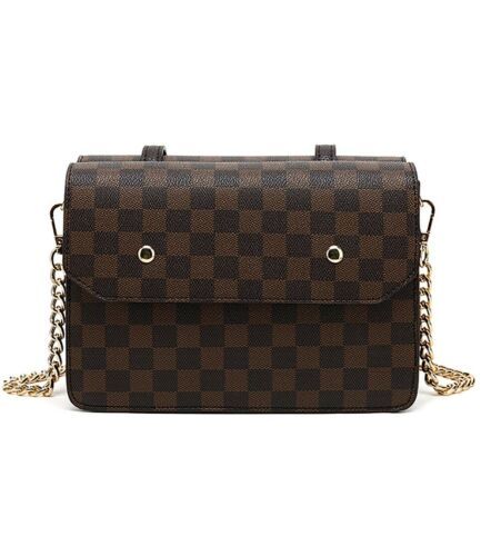 Designer Inspired Checker Print Shoulder Bag With Double sided compartment