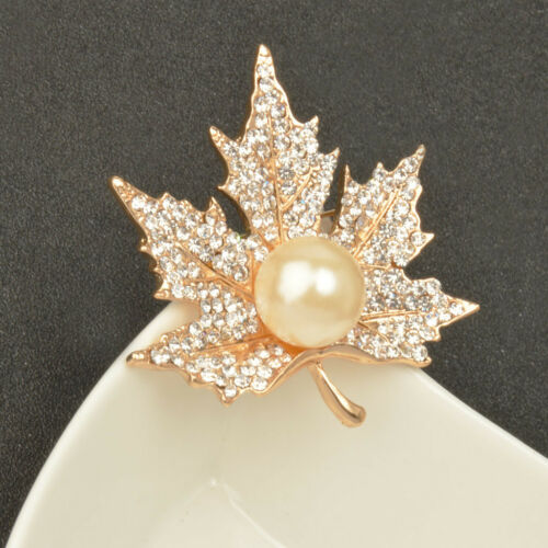 Popular Autumn Gold Crystal Maple Leaves Clothing Suit Accessory Brooch Pin