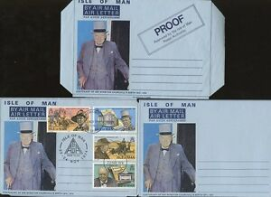 ISLE-of-MAN-1974-CHURCHILL-AIRLETTERS-PROOF-MINT-USED-3-ITEMS