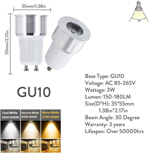 High Bright Mini LED Spot Lighting 3W GU10 GU5.3 MR16 Bulbs 110V 220V 12V Lamp