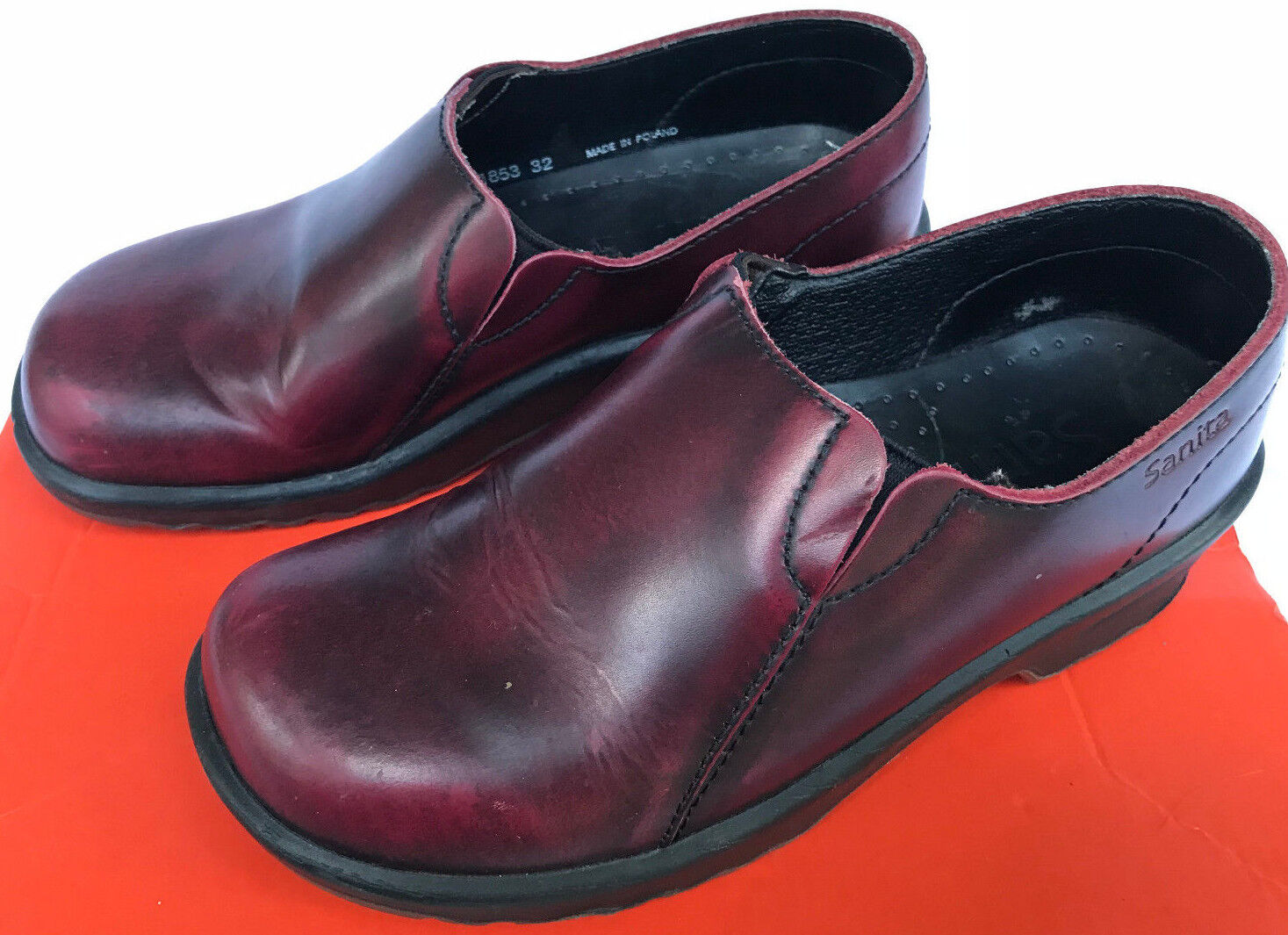 Sanita Solid Professional Red Leather SlipOn Danish Clogs Clogs Clogs shoes Women's 6 EUR 36 7c4308
