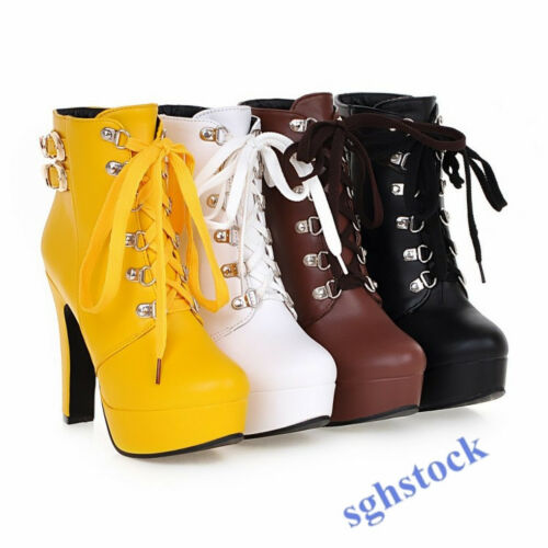 Gothic Women Ankle Boots Metal Buckle High Heel Boots Lace Up Stiletto Shoes S15