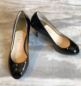 9bcc6bca86042 COLE HAAN Collection Black Patent Leather CARMA Peep Toe Pumps Size ...