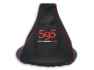 Gear Stick Ghetta in pelle nero ricamo 500/bianco