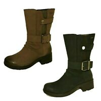 Ladies Clarks mansi Tess Gore-tex Mid Claf Boots Black Brown Water Proof