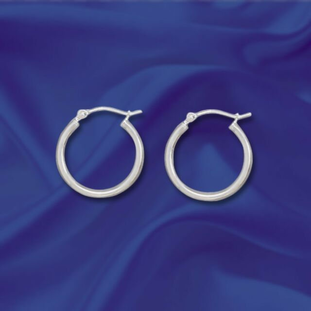 Sterling Silver 2mm X 20mm 925 Hoop Earrings With Click