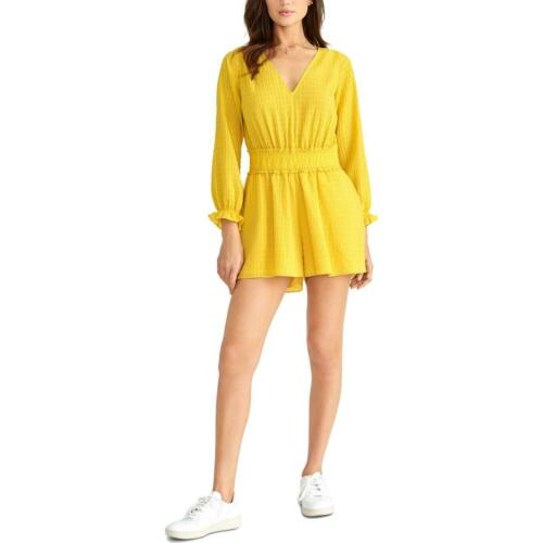 Rachel Rachel Roy Womens Aiko Yellow Smocked P Romper XL BHFO 2099
