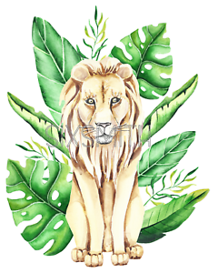 Lion In Tropical Leaves Watercolor Fine Art Giclee High Resolution 8x10 Print Ebay Your purchase includes 30 jpeg images of different palm leaves. details about lion in tropical leaves watercolor fine art giclee high resolution 8x10 print