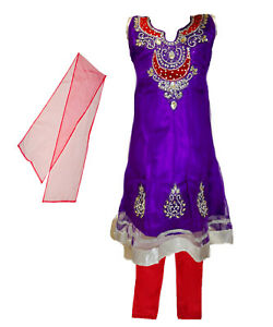 Girls-039-Salwar-Kameez-Indian-Party-Clothing-Purple-with-Red-and-Silver-Accents