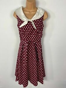 WOMENS DOLLY&DOTTY UK 8 WINE SPOTTED SAILOR STYLE 50'S VINTAGE SWING FLARE DRESS