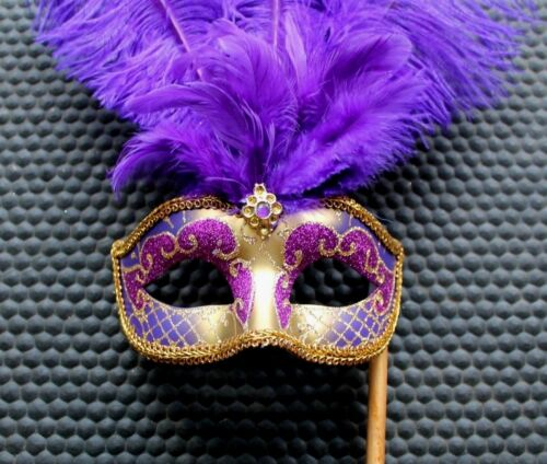 PURPLE /& GOLD FEATHER HAND HELD MASK /& STICK VENETIAN CARNIVAL MASQUERADE PARTY