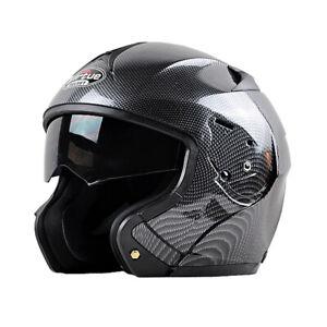 DOT-Bluetooth-Carbon-Fiber-Motorcycle-Helmet-Modular-Flip-Up-Full-Face-2-Visor