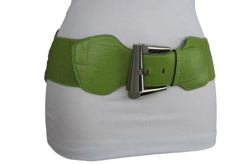 New Women Fashion Classic Stretch Green Belt Silver Metal Big Retro Buckle S M L