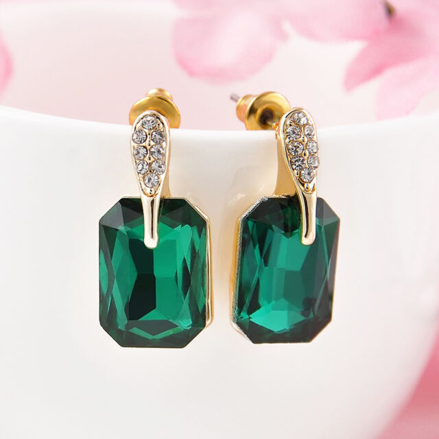 Retro Vogue Rhinestone Big Green Dangle Stud Earrings 3D Cuboid Pendant Jewelry