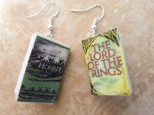 48d55b5553b90 Details about Mini Book Earrings Lord of the Rings The Hobbit Christmas  Gift Book Lovers Gift