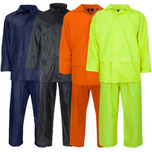 Adults-Overall-Rain-Suit-Jacket-amp-Trousers-Waterproof-Set-Mens-PVC-Rain-Coat-NEW