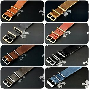 Leather-Watch-Strap-Band-Wrap-Military-4-Ring-S-S-amp-PVD-Many-Colours-amp-Sizes