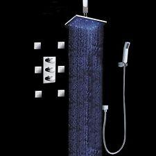 10 Inch LED Rainfall Handheld Shower Head 6 Body Sprays Shower Faucet Set System