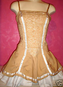 Evening Womens Size Prom Dress White Beige Corset 10 Party Embroidered nrrIFv