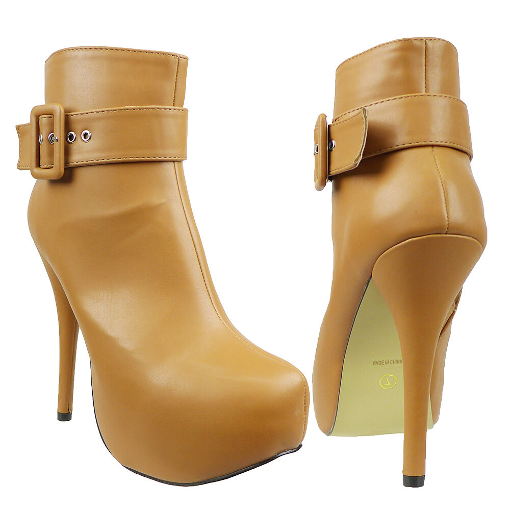 Womens Platform Stiletto Ankle Booties w/ Buckle Accent Light Brown Size 5.5-10