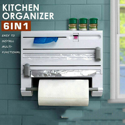 1x New Kitchen Towel Foil 6-in-1 Roll Holder Cling Film Dispenser Wall Mounted